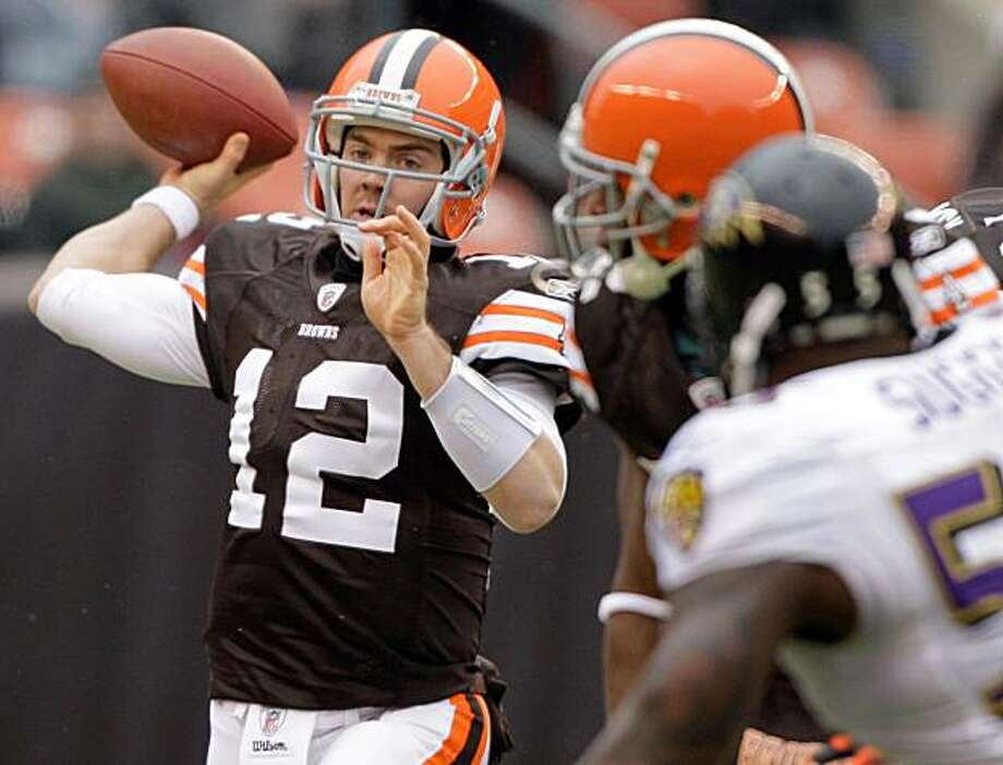 Cleveland Browns quarterback Colt McCoy (12) throws a pass during the first quarter against the Cleveland Browns during their NFL football game on Sunday, Dec. 26, 2010, in Cleveland. Photo: Amy Sancetta, AP