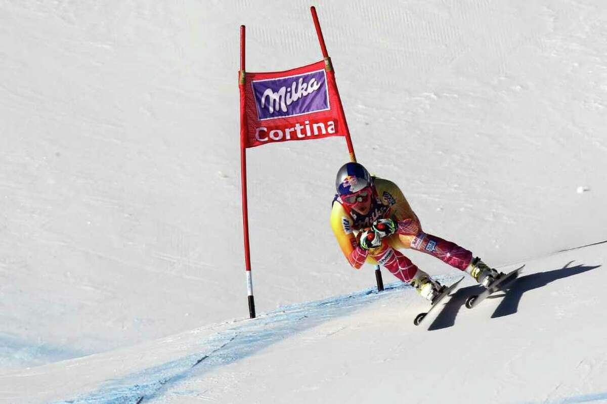 CORTINA D'AMPEZZO, ITALY - JANUARY 14: (FRANCE OUT) Lindsey Vonn of the USA takes 2nd place during the Audi FIS Alpine Ski World Cup Women's Downhill on January 14, 2012 in Cortina d'Ampezzo, Italy. (Photo by Christophe Pallot/Agence Zoom/Getty Images)