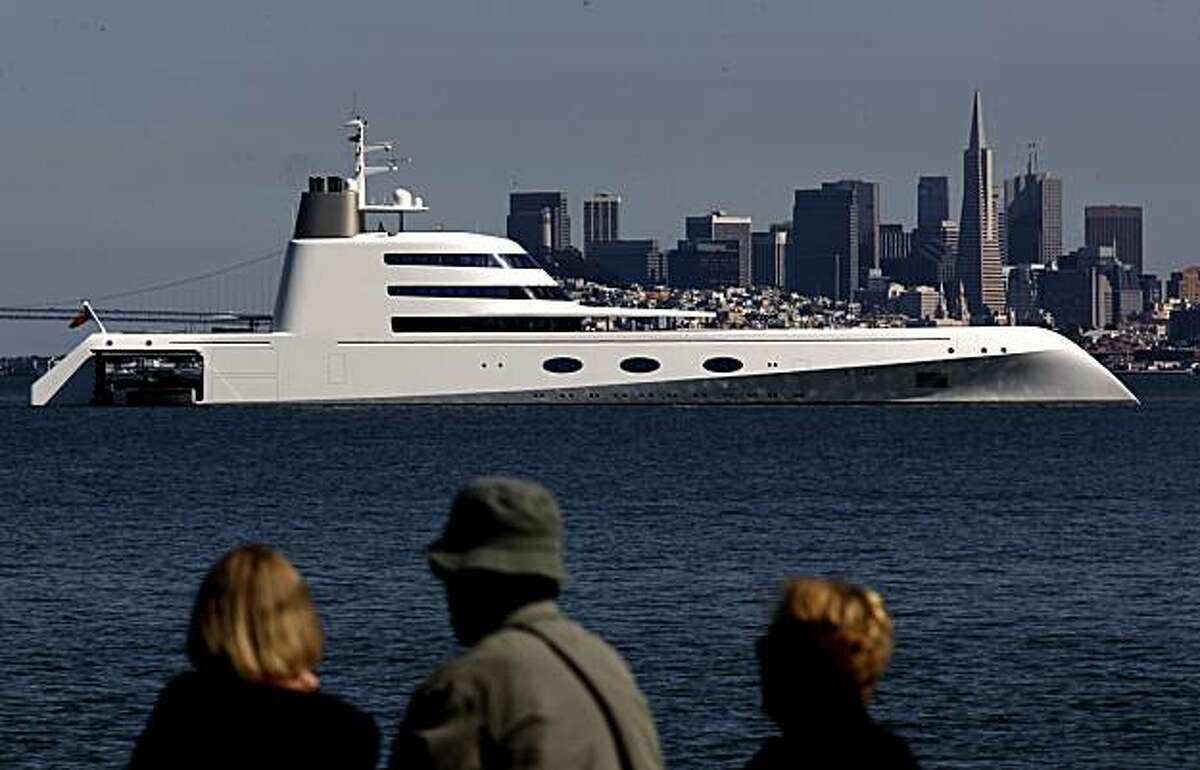 A 390 foot mega yacht owned by a Russian billionaire is anchored off Sausalito, Calif. on Wednesday August 18, 2010.