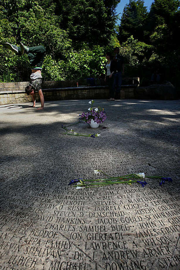 Names of those that have died of aids engraved at the Circle of Friends in the National AIDS Memorial Grove at Golden Gate Park in San Francisco, Calif., on Monday, May 24, 2010. Photo: Liz Hafalia, The Chronicle