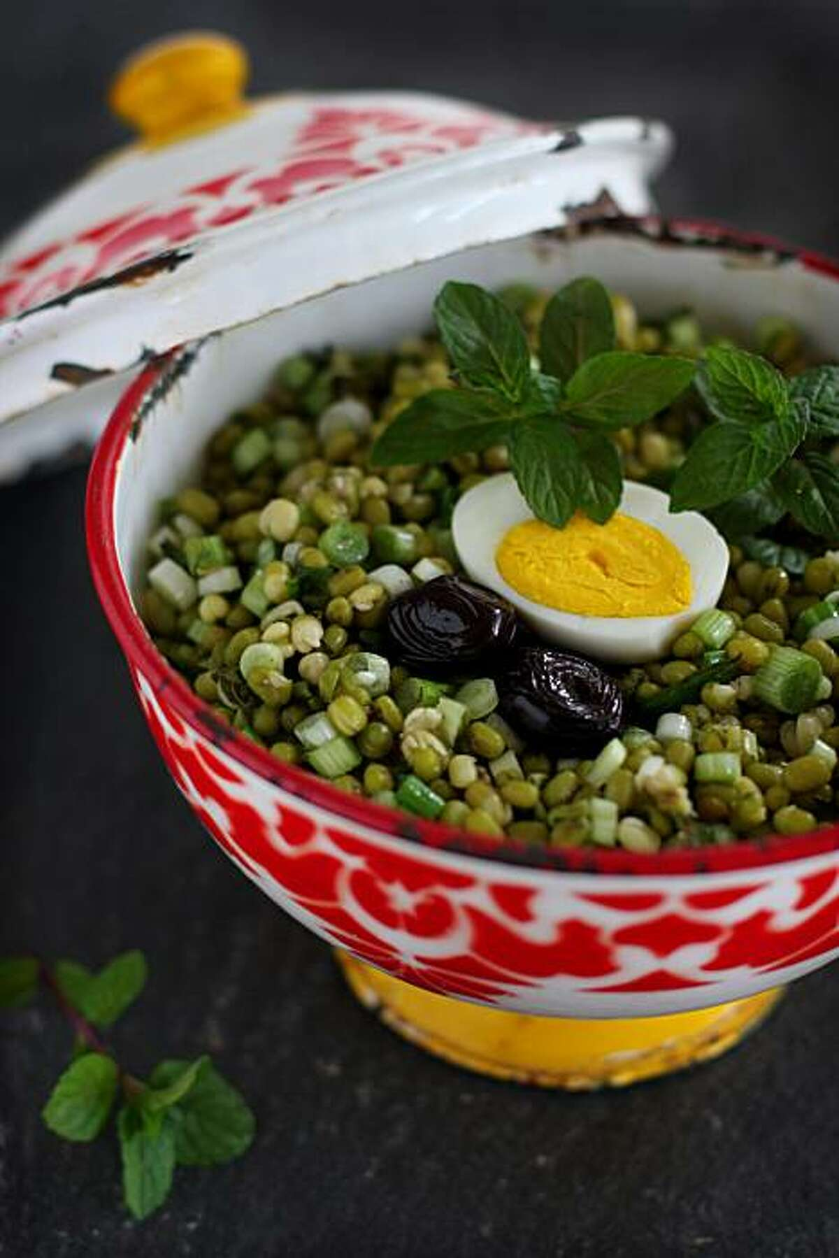 Mung bean salad with scallions and mint