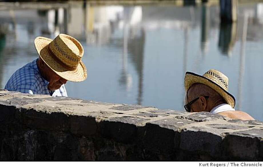 Chess players sit in the sun at Marina near the St. Francis Yacht club they would not  give their names but they say they play chess most every day. on Thursday OCT 16,  2008 in San Francisco , Calif Photo: Kurt Rogers, The Chronicle