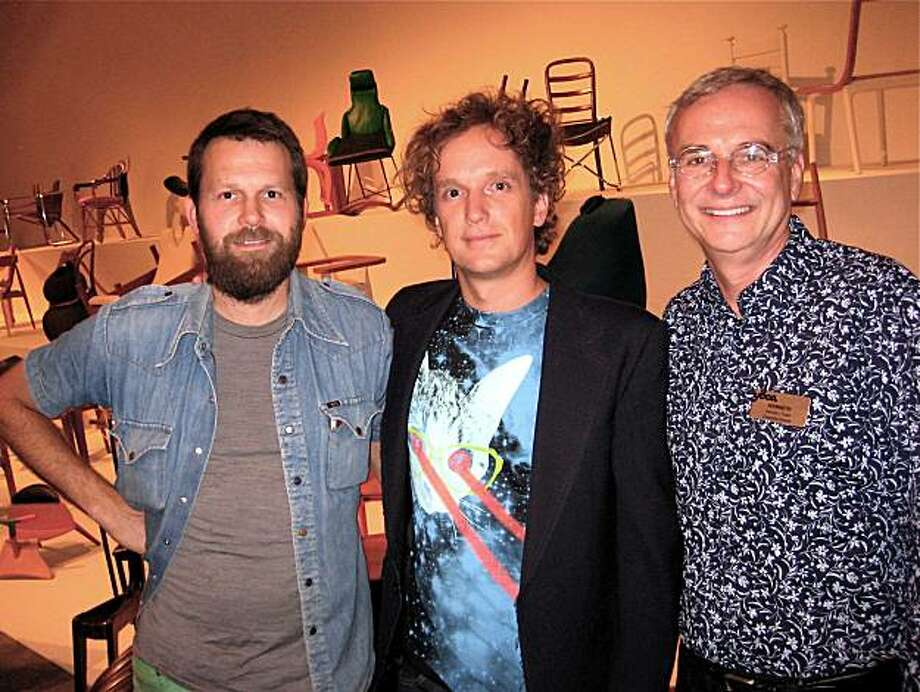 Artist Martin Gompers (left) with curator Yves Behar and YBCA Director Ken Foster at the TechnoCRAFT opening. July 2010. By Catherine Bigelow. Photo: Catherine Bigelow, Special To The Chronicle