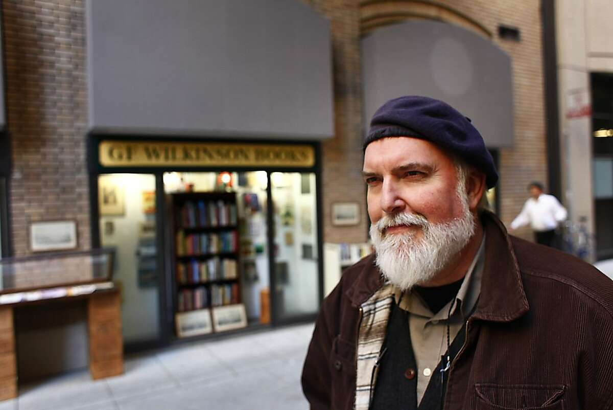 Rick Wilkinson, who owns G.F. Wilkinson Books, the smallest bookstore in San Francisco, is seen at his store on Trinity Place on Friday, January 13, 2012 in San Francisco, Calif.