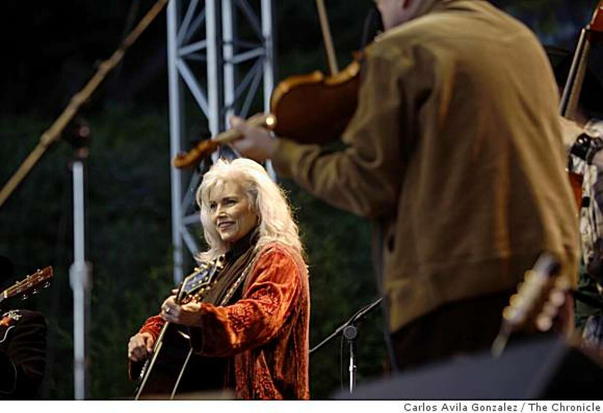 Final concert of eighth Hardly Strictly Bluegrass Festival. Emmylou Harris and her sing-along guests at the end of the day included Warren Hellman on Banjo in San Francisco, Calif., on Sunday, October 5, 2008.
