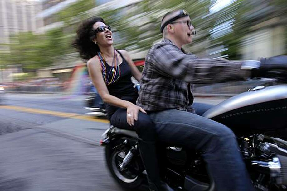 Hundreds of participants ride in Dykes on Bikes, which led the 40th annual Gay Pride Parade on Sunday in San Francisco. Photo: Lacy Atkins, The Chronicle