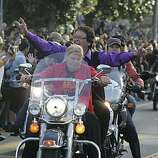 Dykes on Bikes leads off the 18th annual Dyke March up 16th Street from Dolores Park in San Francisco on Saturday.