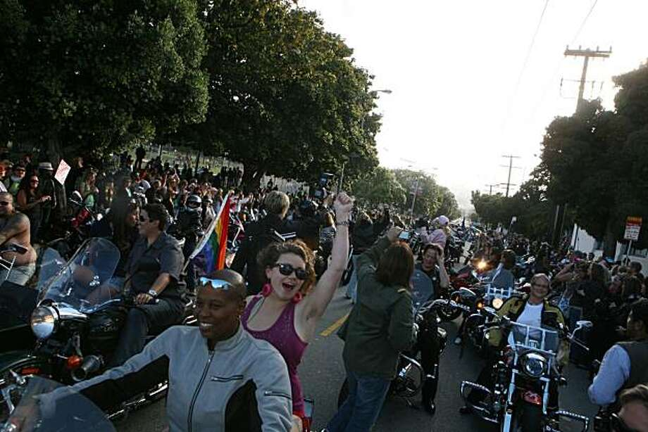 Chere Beasley of Richmond and Melody Sage are in the first group of Dykes on Bikes leading the 18th annual Dyke March up 16th Street from Dolores Park in San Francisco on Saturday. Photo: Kat Wade, Special To The Chronicle