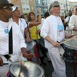 Sistah Boom band marches in the 18th annual Dyke March up 16th Street from Dolores Park in San Francisco on Saturday.