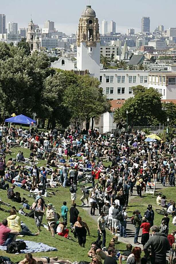 A huge crowd gathers for the Dyke March in Dolores Park in San Francisco on Saturday. Photo: Kat Wade, Special To The Chronicle