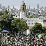 A huge crowd gathers for the Dyke March in Dolores Park in San Francisco on Saturday.
