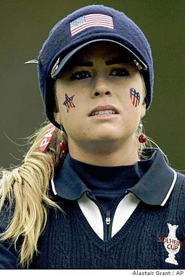 Paula Creamer looks out from the 4th green during a morning foursome match against Europe's Becky Brewerton and Laura Davies during the Solheim Cup at the Halmstad golf course near Halmstad, Sweden, Friday Sept. 14, 2007. Creamer is partnered with Juli Inkster. Photo: Alastair Grant, AP
