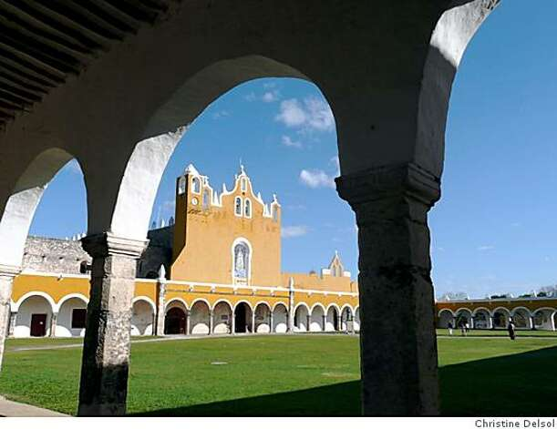 "Known as the ""Yellow City,"" the pueblo of Izamal, Mexico is home to numerous yellow buildings -- a modern reminder of its ancient people's cult of the sun.IZAMAL, Yucatan -- Franciscan convent of San Antonio de PaduaPhoto by Christine Delsol Photo: Christine Delsol"