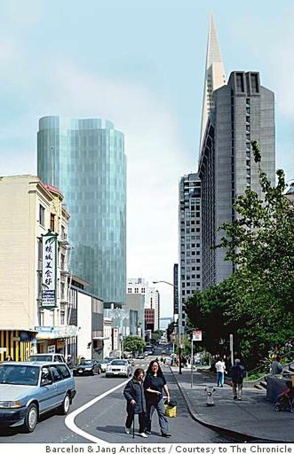 An artist's rendering of City College's proposed green-glass tower, as viewed from Washington Street. It would become its Chinatown campus. Photo: Barcelon & Jang Architects, Courtesy To The Chronicle