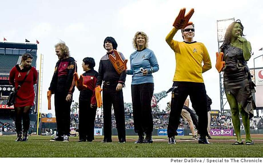 Star Trek fans dressed as their favorite Trekkie line up for the final costume contest judging  during the San Francisco Giants Star Trek Movie night. Photo: Peter DaSilva, Special To The Chronicle