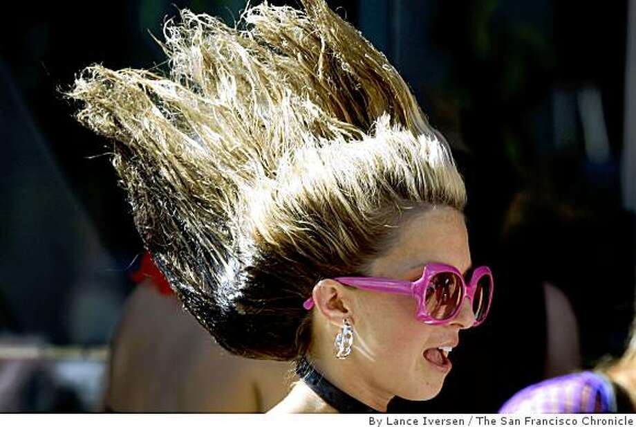 If awards were given for hair designs Danielle Vergona from San Francisco would be in the running for one at the annual LoveFest. Photo: By Lance Iversen, The San Francisco Chronicle