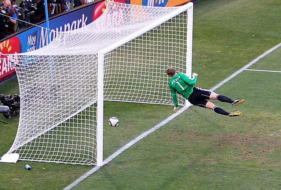 BLOEMFONTEIN, SOUTH AFRICA - JUNE 27:  Manuel Neuer of Germany watches the ball bounce over the line from a shot that hit the crossbar from Frank Lampard of England, but referee Jorge Larrionda	judges the ball did not cross the line during the 2010 FIFA World Cup South Africa Round of Sixteen match between Germany and England at Free State Stadium on June 27, 2010 in Bloemfontein, South Africa. Photo: Cameron Spencer, Getty Images