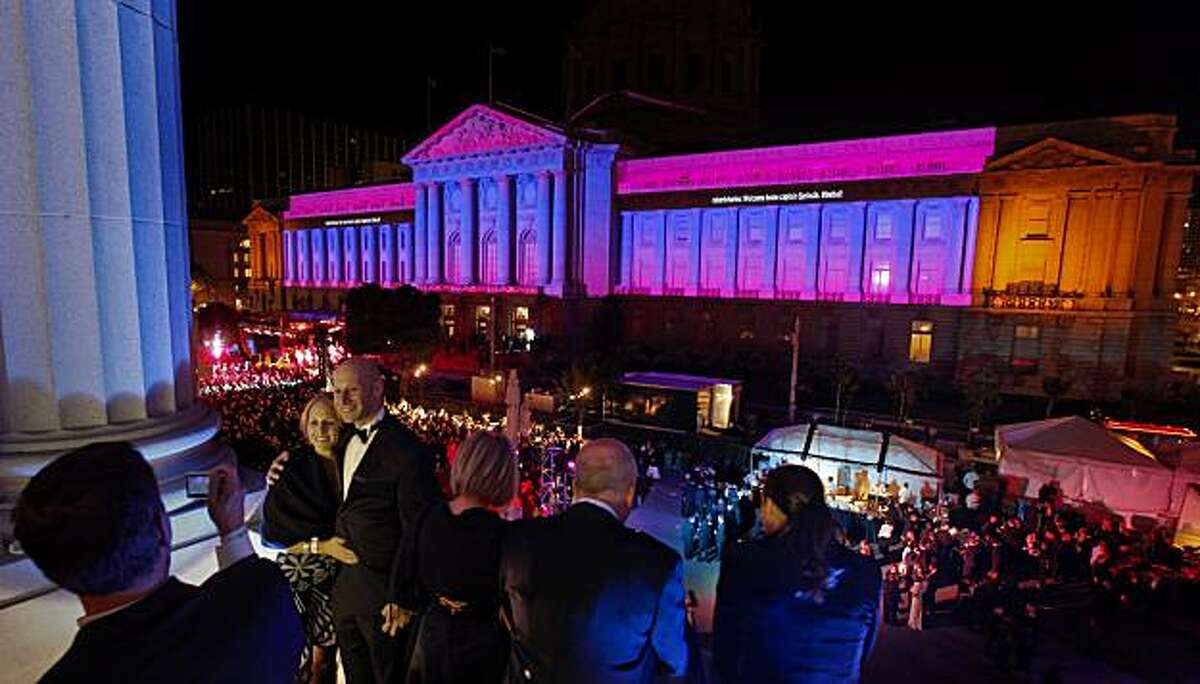 San Francisco City Hall glows in color during the 2010 Black and White Ball, in San Francisco, Calif. on Saturday May 22, 2010.