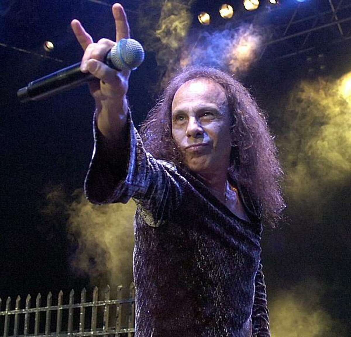 In this July 7, 2007, photo, Ronnie James Dio performs with British heavy metal group