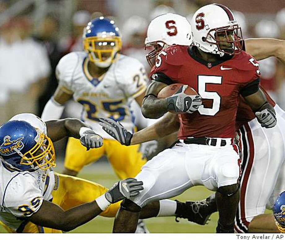 Stanford running back Anthony Kimble runs the ball past San Jose State defensive end Carl Ihenacho during the first quarter of a football game Saturday, Sept. 15, 2007, in Stanford, Calif. (AP Photo: Tony Avelar, AP