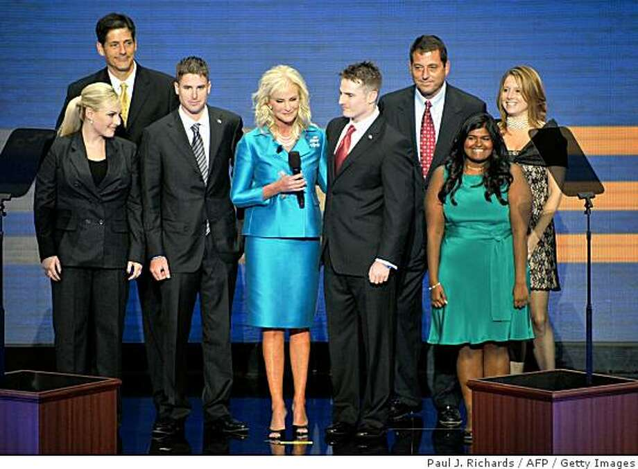 Cindy McCain, wife of Republican presidential nominee, stands on stage with family members during the Republican National Convention 2008 at the Xcel Energy Center in St. Paul, Minnesota, on September 04, 2008. From L-R: Andrew, Meghan, Jimmy, Cindy, Jack, Doug, Bridget and Sydney. Photo: Paul J. Richards, AFP / Getty Images