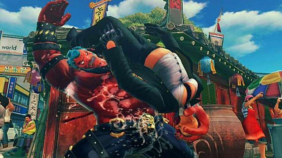 Turkish oil wrestler Hakan has a slick repertoire of ridiculous by fun moves in Super Street Fighter IV. Photo: Capcom