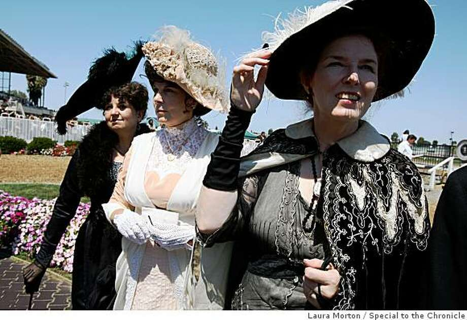 Members of the Greater Bay Area Costumers Guild including (l-r) Kij Greenwood, Linda Bergmann and Cherie Oliver were on hand in period costume to celebrate the last day of races at Bay Meadows in San Mateo, Calif., on Sunday, August 17, 2008. Sunday was the last day of live racing at Bay Meadows, which is closing after 74 years. Photo: Laura Morton, Special To The Chronicle