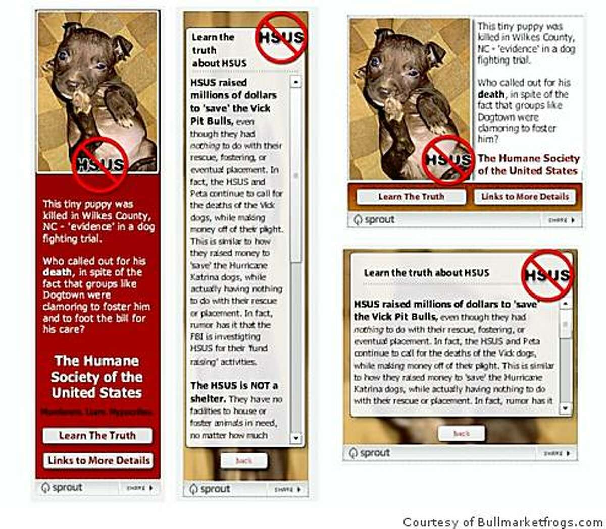 Examples of a widget designed and distributed on the FrogDog blog. They were part of an overnight grassroots explosion of outrage over the killing of 120 pit bulls seized from a dog fighting ring.