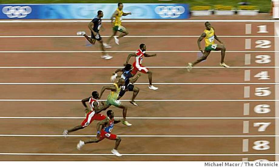 Usain Bolt of Jamaica blew away the competition in the 100 meter race, with 9.69 world record to take the gold medal. Photo: Michael Macor, The Chronicle