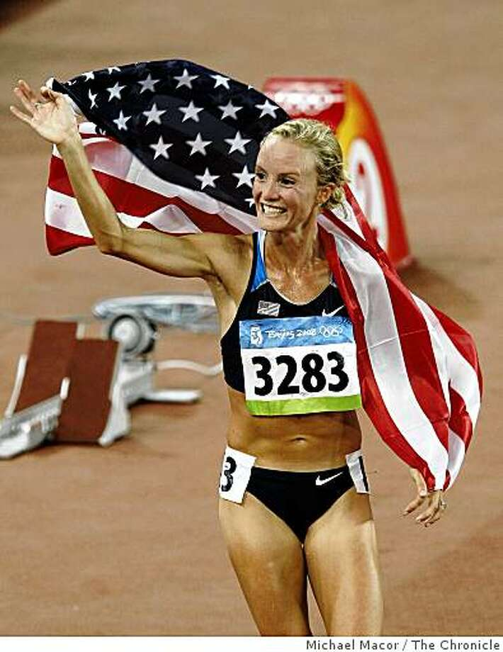 USA's Shalane Flanagan finished with a bronze medal in the women's 10,000 meter race in the athletics competition at the Beijing 2008 Olympic Games, on Friday Aug. 15, 2008. Photo: Michael Macor, The Chronicle