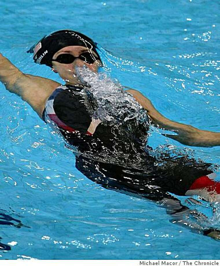 USA's Natalie Coughlin swims the semi-finals in the 100 meter backstroke to advance, during  the 2008 Olympic Games, Monday Aug. 11, 2008 in Beijing, China. Photo: Michael Macor, The Chronicle