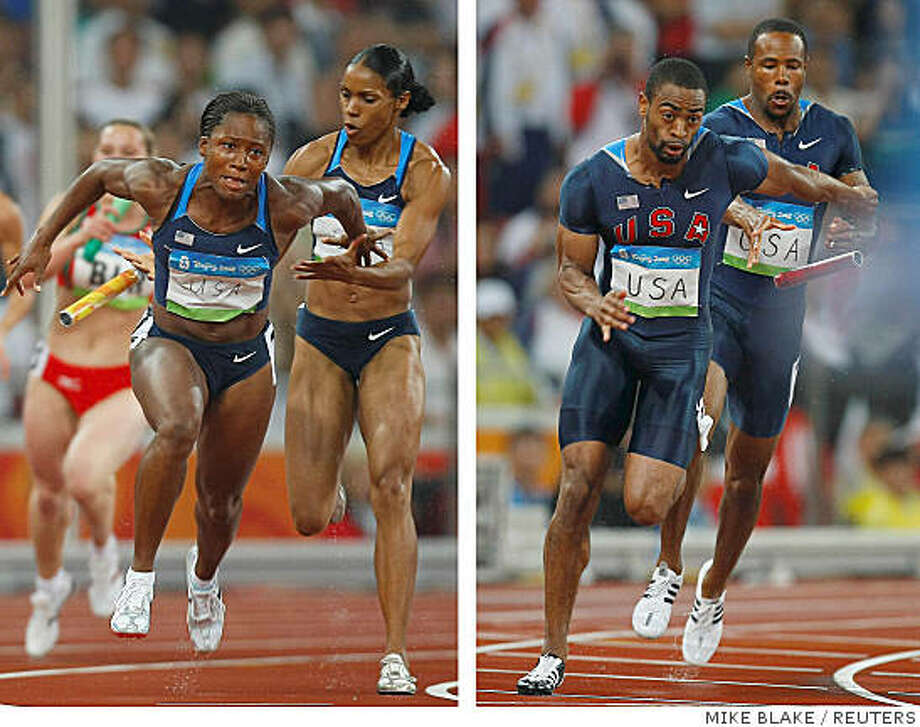 Torri Edwards (C) of the U.S. and Lauryn Williams (L)  drop their baton during their women's 4 x 100m relay heat of the athletics competition in the National Stadium at the Beijing 2008 Olympic Games  as does Tyson Gay of the U.S.who fails to receive the baton from teammate Darvis Patton (R) during their men's 4 x 100m relay heat  August 21, 2008. REUTERS/Mike Blake (CHINA) Photo: MIKE BLAKE, REUTERS