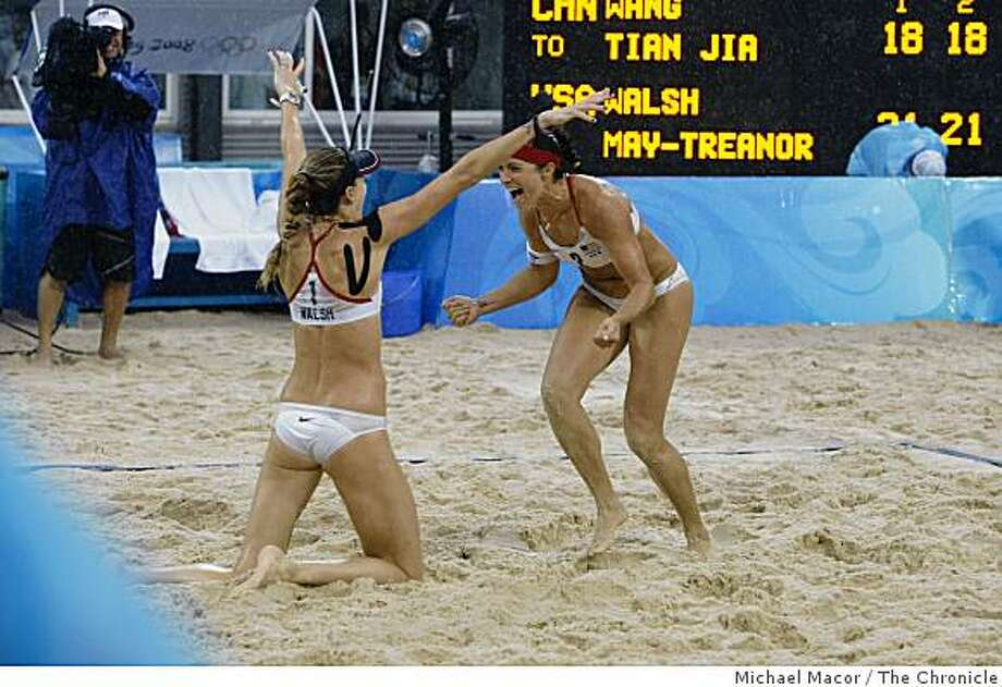 Kerri Walsh and Misty May-Treanor of the USA celebrate winning the gold against Jie Wang and Jia Tian of China at the 2008 Olympics in Beijing, China, Wednesday  Aug. 20, 2008. Photo: Michael Macor, The Chronicle