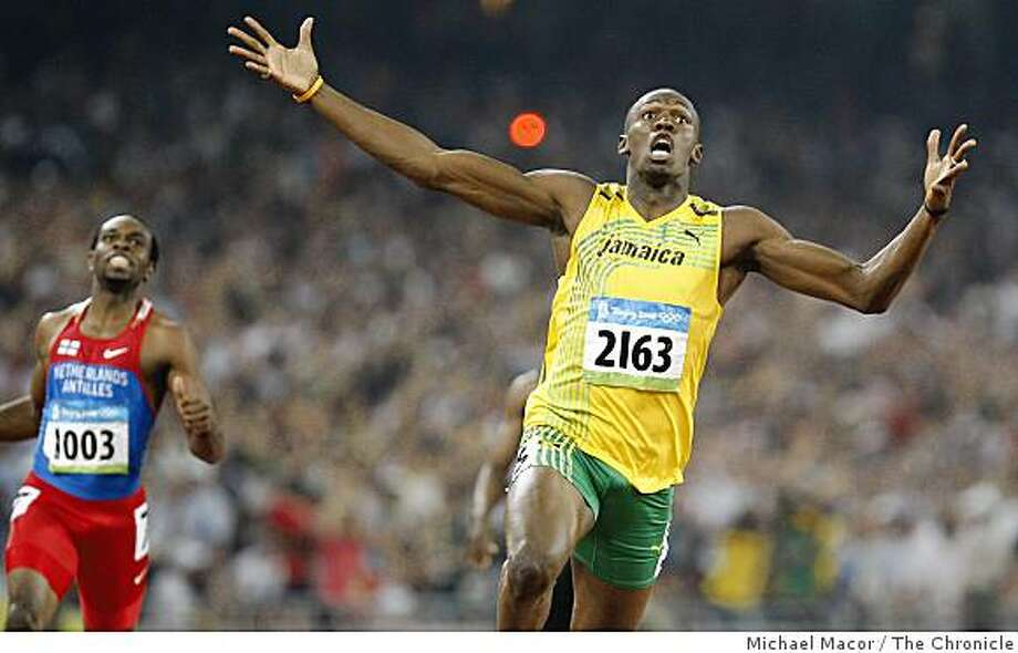 Usain Bolt of Jamaica took the gold medal in the men's 200m final at the 2008 Olympics in Beijing, China, on Wednesday  Aug. 20, 2008. Photo: Michael Macor, The Chronicle