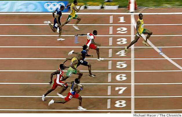Usain Bolt of Jamaica blew away the competition in the 100 meter race, with 9.69 world record to take the gold medal on Saturday Aug. 16, 2008 at the Olympic Games in Beijing, China. Photo: Michael Macor, The Chronicle