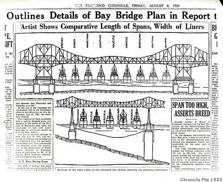 Bay Bridge_ph29.jpgAugust 8, 1930 - Illustration of the comparative length of spans, width of liners of the San Francisco-Oakland Bay Bridge as it appeared in The San Francisco Chronicle.photographer unknown/ San Francisco Chronicle File 1930 Photo: Photographer Unknown, Chronicle File 1930