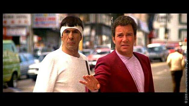 "Leonard Nimoy as Spock and William Shatner as James T. Kirk in ""Star Trek IV: The Voyage Home."" Photo: Paramount"