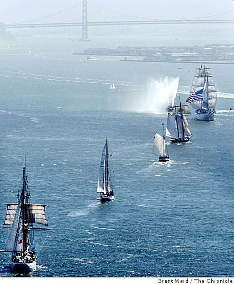 The Festival of Sails parade of ships enters the San Francisco Bay Wednesday, July 23, 2008, After crossing beneath the Golden Gate bridge.  (AP Photo/San Francisco Chronicle, Brant Ward) **NORTHERN CA MANDATORY CREDIT PHOTOG & CHRONICLE, MAGS OUT, NO SALES, ** Photo: Brant Ward, The Chronicle