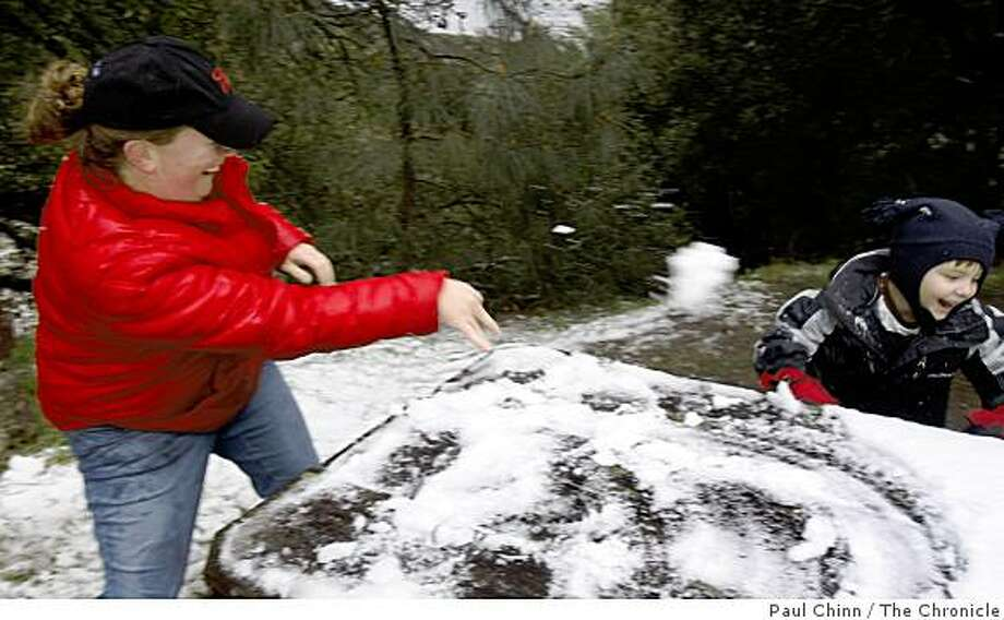 Jasmine Crews tosses a snowball at her five-year-old son Cody Kargas at Mt. Diablo State Park in Danville, Calif., on Friday, Feb. 13, 2009. Park rangers estimated that two inches of snow blanketed the upper elevation of the park by daybreak. Crews kept Kargas out of school for the day so he could experience the white stuff for the first time. Photo: Paul Chinn, The Chronicle