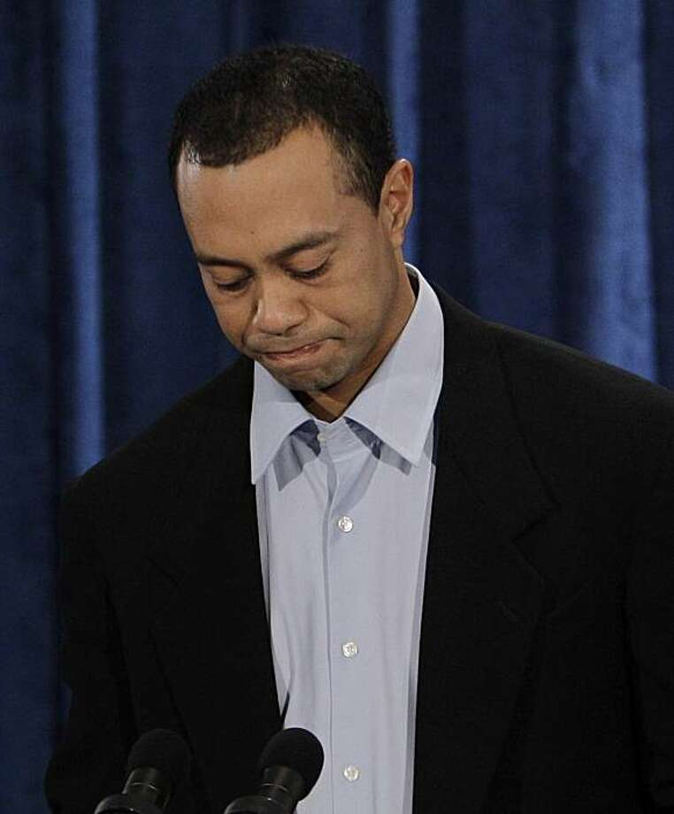 Tiger Woods pauses during a news conference, Friday, Feb. 19, 2010, in Ponte Vedra Beach, Fla. (AP Photo/Eric Gay) Photo: Eric Gay, AP