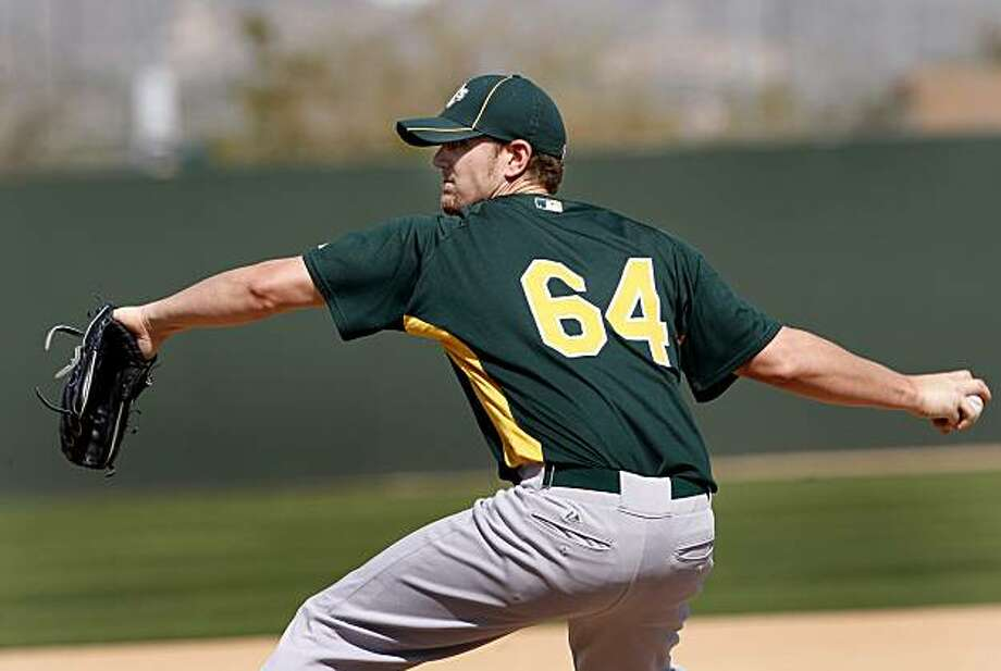 The Oakland Athletics Justin Souza threw batting practice Friday February 26, 2010. Scenes from the San Francisco Giants and Oakland Athletics spring training campaigns of 2010 in Scottsdale and Phoenix, Arizona. Photo: Brant Ward, The Chronicle