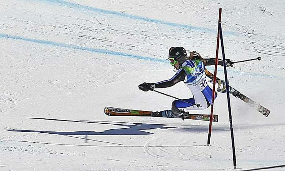 Argentina's Maria Belen Simari-Birkner crashes during the slalom portion of the Women's super combined at the Vancouver 2010 Olympics in Whistler, British Columbia, Thursday, Feb. 18, 2010. Photo: Sergey Ponomarev, AP