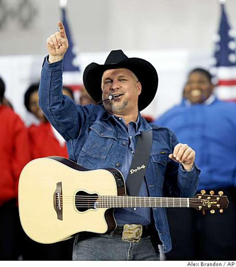 "Garth Brooks performs during ""We Are One: Opening Inaugural Celebration at the Lincoln Memorial"" in Washington, Sunday, Jan. 18, 2009. Photo: Alex Brandon, AP"