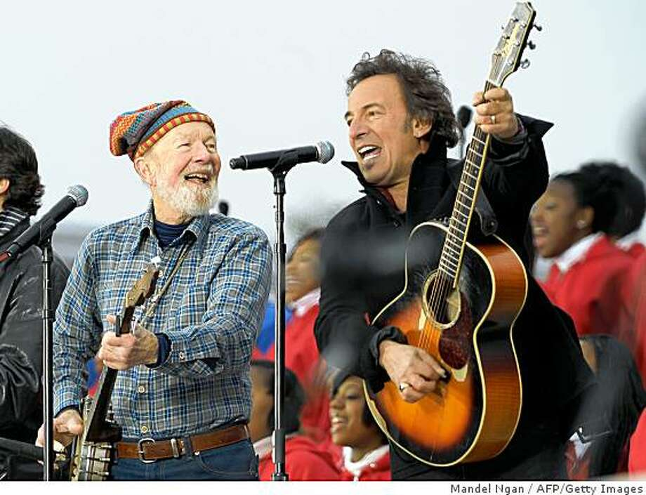 Pete Seeger (L) and Bruce Springsteen (R) perform during the ?We are One? Inaugural Celebration at the Lincoln Memorial  January 18, 2009 in Washington, DC. A galaxy of stars including Springsteen, U2 and Stevie Wonder will usher Obama into the White House, with a half-million people expected to brave the cold to celebrate the first African-American president. Photo: Mandel Ngan, AFP/Getty Images