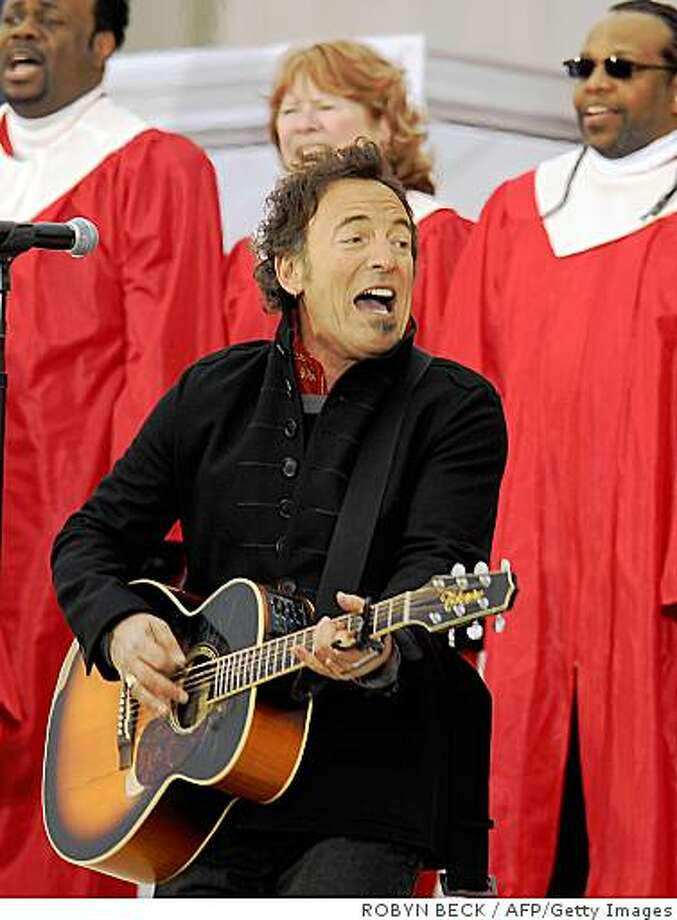 "Bruce Springsteen performs at the 'We Are One"" concert, one of the events of Obama's inauguration celebrations, at the Lincoln Memorial in Washington on January 18, 2009. Photo: ROBYN BECK, AFP/Getty Images"