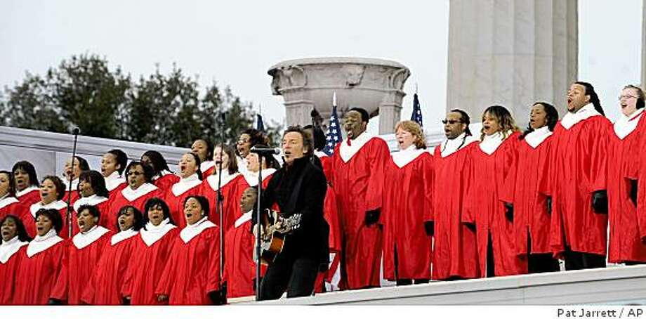 "Bruce Springsteen performs during ""We Are One: Opening Inaugural Celebration at the Lincoln Memorial"" in Washington, Sunday, Jan. 18, 2009. Photo: Pat Jarrett, AP"