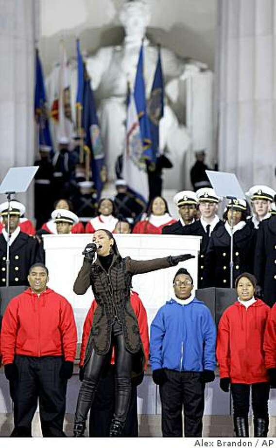 "Beyonce performs during ""We Are One: Opening Inaugural Celebration at the Lincoln Memorial"" in Washington, Sunday, Jan. 18, 2009. Photo: Alex Brandon, AP"