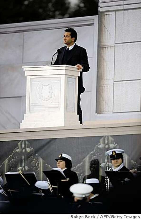 "Actor Kal Penn speaks at the 'We Are One"" concert, one of the events of US president-elect Barack Obama's inauguration celebrations, at the Lincoln Memorial in Washington on January 18, 2009. Photo: Robyn Beck, AFP/Getty Images"