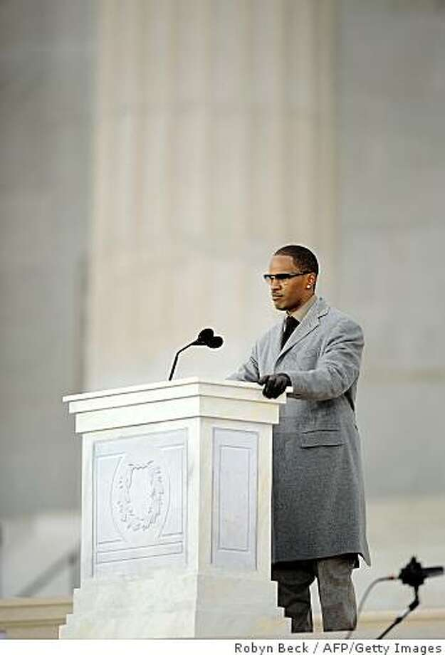 "Actor Jamie Foxx speaks at the 'We Are One"" concert, one of the events of US president-elect Barack Obama's inauguration celebrations, at the Lincoln Memorial in Washington on January 18, 2009. Photo: Robyn Beck, AFP/Getty Images"