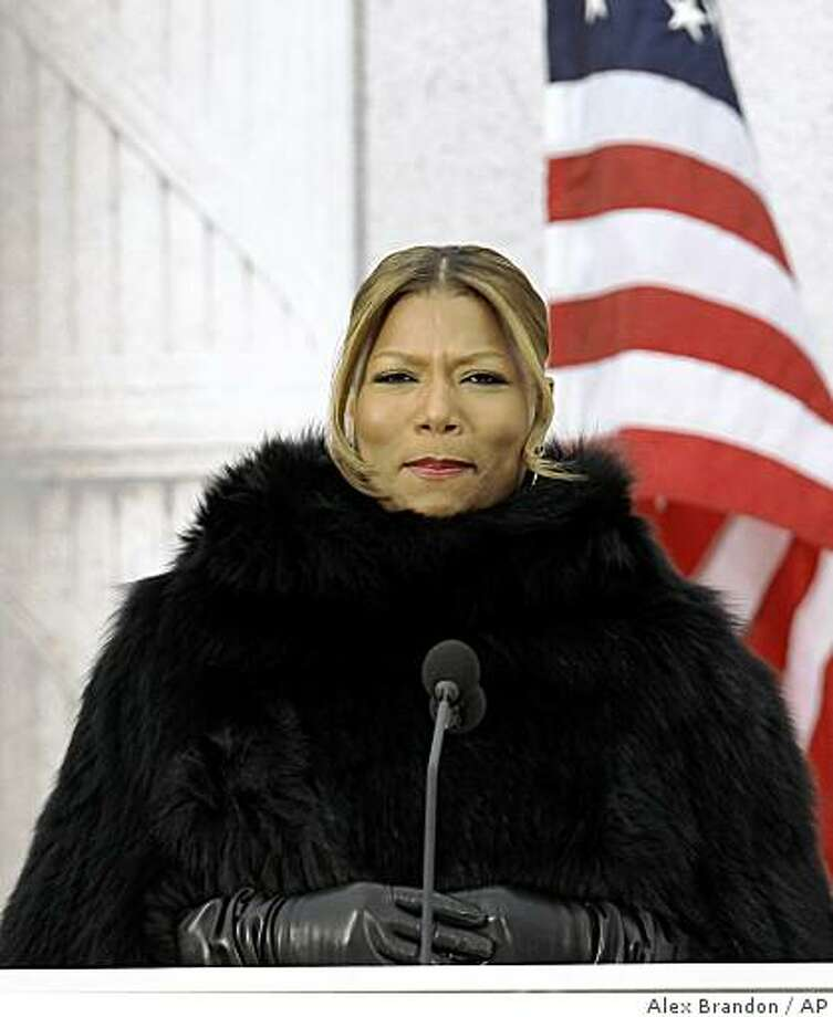 "Actress Queen Latifah speaks during ""We Are One: Opening Inaugural Celebration at the Lincoln Memorial"" in Washington, Sunday, Jan. 18, 2009. Photo: Alex Brandon, AP"